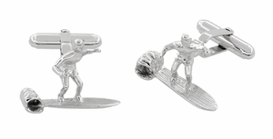 Surfer Cufflinks in Sterling Silver - Item SCL208 - Image 1