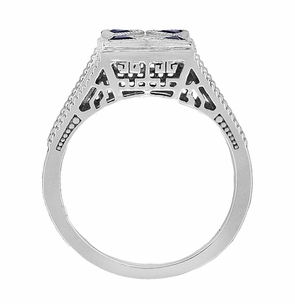 Art Deco Engraved Filigree 4 Stone Blue Sapphire and Diamond Antique Style Ring in 18 Karat White Gold - Item R862 - Image 3