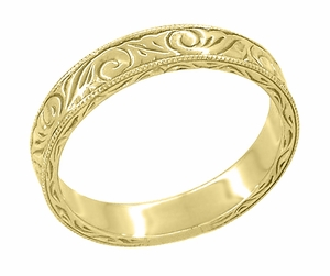 Men's Art Deco Antique Scrolls Engraved Wedding Band in 18 Karat Yellow Gold - Item WR199MY - Image 2