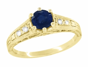 Sapphire and Diamond Filigree Engagement Ring in 14 Karat Yellow Gold - Item R158Y - Image 1