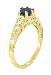 Antique Inspired 14K Yellow Gold Sapphire and Diamond Art Deco Filigree Engagement Ring - Item R158Y - Image 2