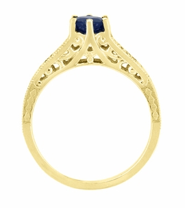Sapphire and Diamond Filigree Engagement Ring in 14 Karat Yellow Gold - Item R158Y - Image 3