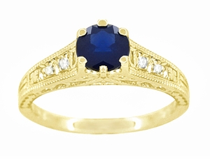 Sapphire and Diamond Filigree Engagement Ring in 14 Karat Yellow Gold - Item R158Y - Image 4