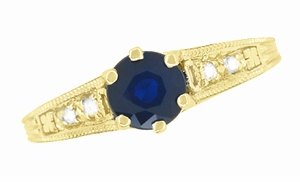 Antique Inspired 14K Yellow Gold Sapphire and Diamond Art Deco Filigree Engagement Ring - Item R158Y - Image 5