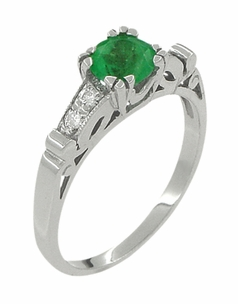 Art Deco Vintage Style Emerald and Diamonds Engagement Ring in 18 Karat White Gold - Click to enlarge