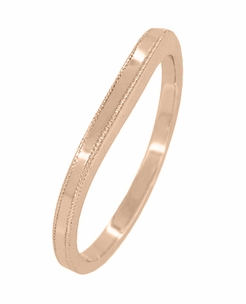 Millgrain Edge Curved Wedding Band in 14 Karat Rose ( Pink ) Gold - Item WR158RND - Image 1