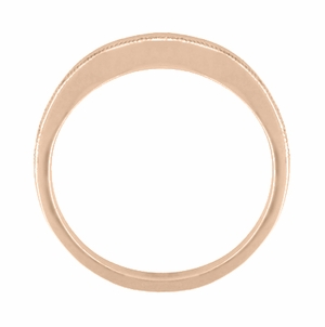 Millgrain Edge Curved Wedding Band in 14 Karat Rose ( Pink ) Gold - Item WR158RND - Image 2