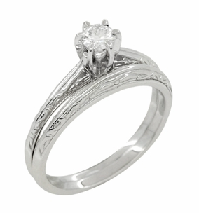 Art Deco Engraved Scrolls White Sapphire Engagement Ring and Wedding Ring Set in Platinum - Click to enlarge