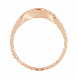 Art Deco Curved Wedding Band in 18 Karat Rose ( Pink ) Gold - Item R717R - Image 3