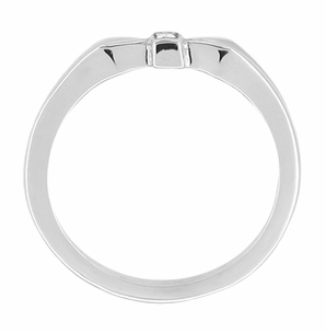 Retro Moderne Bow Motif White Sapphire Band in 14 Karat White Gold - Item R378WS - Image 1
