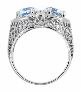 Art Deco Filigree Blue Topaz Loving Duo Ring in Sterling Silver, Vintage Two Stone Ring Design - Click to enlarge