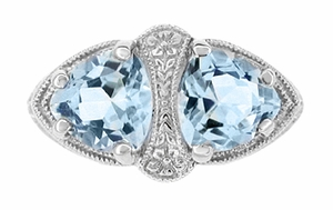 Art Deco Filigree Blue Topaz Loving Duo Ring in Sterling Silver, Vintage Two Stone Ring Design - Item R1123 - Image 2