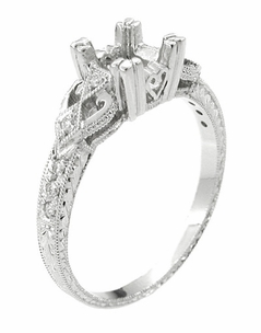 Loving Hearts Art Deco 1 Carat Round or Princess Cut Diamond Engraved Antique Style Platinum Engagement Ring Setting - Item R459P1 - Image 2