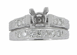 Art Deco Scrolls 2 Carat Princess Cut Diamond Engagement Ring Setting and Wedding Ring in 18 Karat White Gold - Item R955 - Image 3