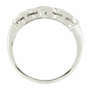 Art Deco Heirloom Hearts and Scrolls Filigree Diamond Wedding Ring in 14 Karat White Gold - Click to enlarge