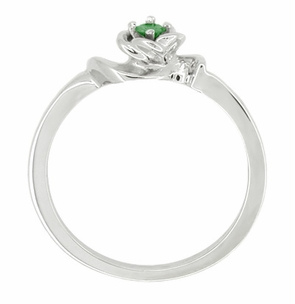 Retro Moderne Rose Emerald Ring in 14 Karat White Gold - Click to enlarge