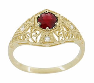 Edwardian Ruby and Diamonds Scroll Dome Filigree Engagement Ring in 14 Karat Yellow Gold - Item R471Y - Image 1