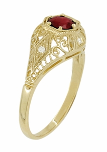Edwardian Ruby and Diamonds Scroll Dome Filigree Engagement Ring in 14 Karat Yellow Gold - Item R471Y - Image 2