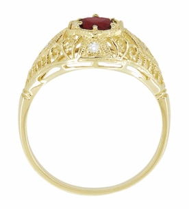 Edwardian Ruby and Diamonds Scroll Dome Filigree Engagement Ring in 14 Karat Yellow Gold - Click to enlarge