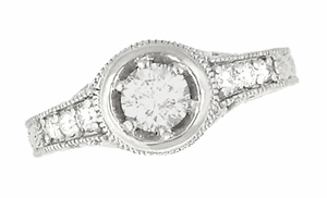 Art Deco Filigree Flowers and Scrolls Engraved Diamond Engagement Ring in 14 Karat White Gold, Vintage Style Low Profile Ring - Click to enlarge