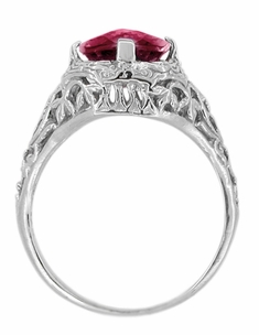 Art Deco Flowers and Leaves Rhodolite Garnet Filigree Ring in 14 Karat White Gold - Click to enlarge