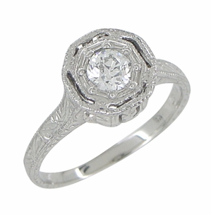 Art Deco Engraved Platinum Old European Cut Diamond Engagement Ring | Low Set  - Item R284 - Image 1