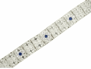 Art Deco Filigree Sapphire and Diamond Set Bracelet in 14 Karat White Gold - Item GBR127 - Image 1