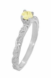 Art Deco Scrolls Fancy Yellow Diamond Engagement Ring in 14 Karat White Gold - Click to enlarge