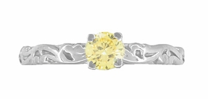 Art Deco Scrolls Fancy Yellow Diamond Engagement Ring in 14 Karat White Gold - Item R639WYD - Image 3