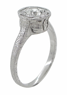 Art Deco Engraved Platinum Old European Cut Diamond Engagement Ring | Low Set  - Item R284 - Image 2