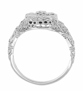 Art Deco 14 Karat White Gold Filigree Onyx and Diamond Ring - Item R1140 - Image 1