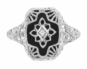 Art Deco 14 Karat White Gold Filigree Onyx and Diamond Ring - Click to enlarge