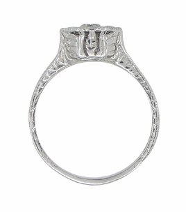 Art Deco Engraved Platinum Old European Cut Diamond Engagement Ring | Low Set  - Item R284 - Image 3