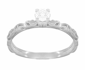 Art Deco Scrolls Diamond Engagement Ring in 14 Karat White Gold - Item R639WD - Image 1