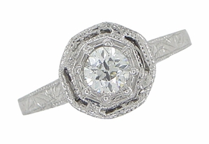Art Deco Engraved Platinum Old European Cut Diamond Engagement Ring  - Click to enlarge