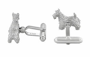 Scottie Dog Cufflinks in Sterling Silver - Scottish Terrier Cufflinks - Click to enlarge