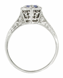 Art Deco Filigree Blue Sapphire Engagement Ring in 14 Karat White Gold - Click to enlarge