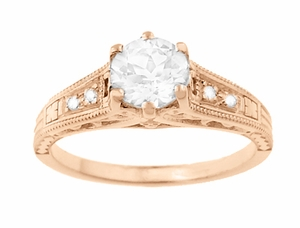 Art Deco Diamond Filigree Engagement Ring in 14 Karat Rose ( Pink ) Gold - Item R643R - Image 3