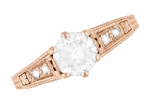 Art Deco Diamond Filigree Engagement Ring in 14 Karat Rose ( Pink ) Gold - Item R643R - Image 4