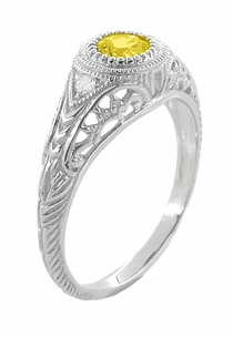 Art Deco Engraved Yellow Sapphire and Diamond Filigree Engagement Ring in Platinum - Click to enlarge