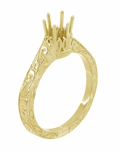 Art Deco 1/4 Carat Crown Filigree Scrolls Engagement Ring Setting in 18 Karat Yellow Gold - Item R199Y25 - Image 3