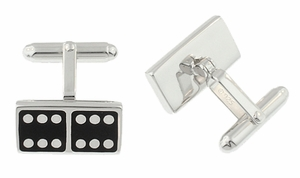 Domino Cufflinks in Sterling Silver - Item SCL139 - Image 1