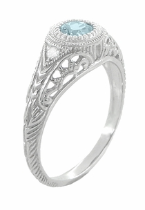 Art Deco Engraved Aquamarine and Diamond Filigree Engagement Ring in Platinum - Item R138PA - Image 3