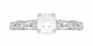 Art Deco Scrolls White Sapphire Engagement Ring in 14 Karat White Gold - Click to enlarge