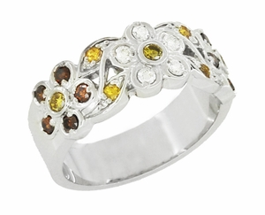 1960's Style Cocoa Brown Diamond, Yellow Diamond, and White Diamond Floral Wedding Band in 14K White Gold - Item R649WD - Image 1