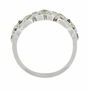 Cocoa Brown Diamond, Yellow Diamond, and White Diamond Floral Wedding Band in 14 Karat White Gold - Click to enlarge