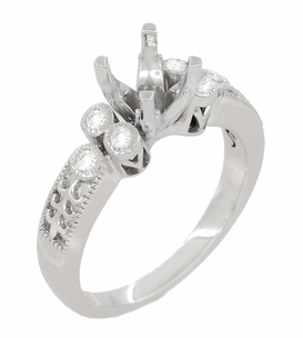 Eternal Stars 1 Carat Diamond Engraved Fleur De Lis Engagement Ring Mounting in 14 Karat White Gold - Click to enlarge