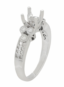 Eternal Stars 1 Carat Diamond Engraved Fleur De Lis Engagement Ring Mounting in 14 Karat White Gold - Item R8411R - Image 2