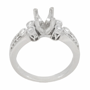 Eternal Stars 1 Carat Diamond Engraved Fleur De Lis Engagement Ring Mounting in 14 Karat White Gold - Item R8411R - Image 3
