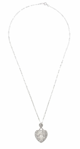 Heart of Love Art Deco Filigree Diamond Pendant Necklace in 14 Karat White Gold - Click to enlarge